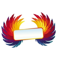 wings with bright frame - rainbow template vector image