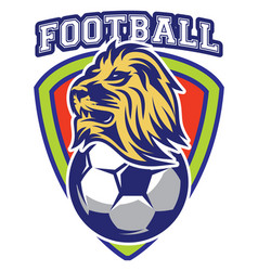 Pattern of sport badge for team with lion and ball vector