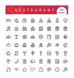 Restaurant line icons set vector