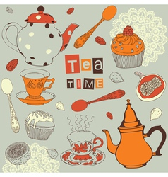 Tea and sweets vector