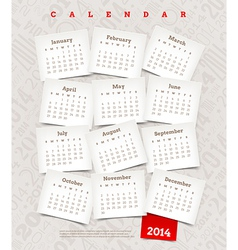 Decorative calendar of 2014 year vector