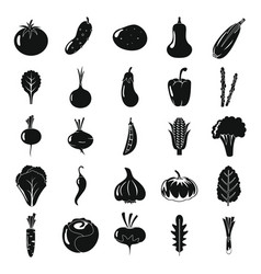 vegetables icons collection black silhouette set vector image
