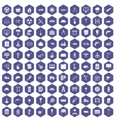 100 construction site icons hexagon purple vector