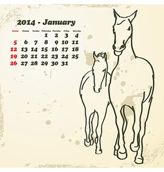 January 2014 hand drawn horse calendar vector