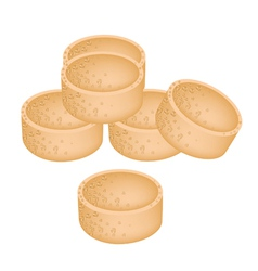 Stack of millet cookies on white background vector