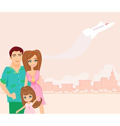 Family going on a vacation vector