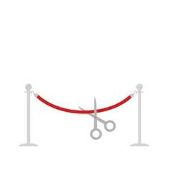 Scissors cut red rope silver barrier stanchions vector