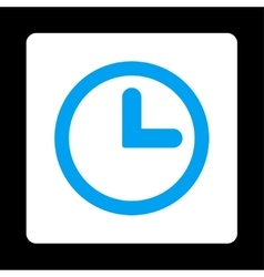 Clock flat blue and white colors rounded button vector