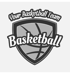 Black and white basketball label with ball vector