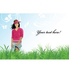 girl field vector image