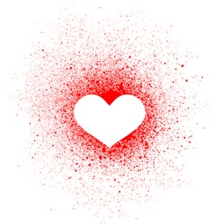 Graffiti heart spray design element in white red vector