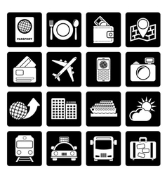Black travel transportation and vacation icons vector