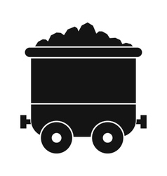 Coal trolley black simple icon vector