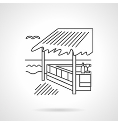 Bungalow flat line icon vector