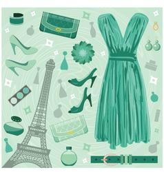 Paris fashion set vector