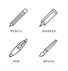Line icons set of pen pencil marker paint brush vector image