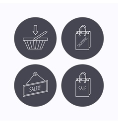 Shopping cart sale bag icons vector