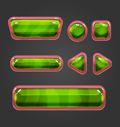 Set green button in cartoon style vector