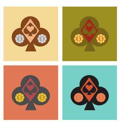 Assembly flat icons logotype poker logo vector
