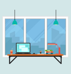 Business workplace room interior vector