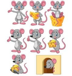 Cartoon funny mouse collection set vector