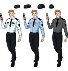 Caucasian male police officer holds taser vector