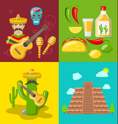 Collection banners of mexican icons vector