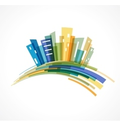 Colorful city real estate and skyline background vector