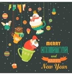 Cute christmas decorations with santa snowman vector
