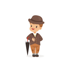 cute little boy wearing brown suit and hat holding vector image vector image