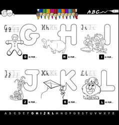 educational cartoon alphabet for kids coloring vector image vector image