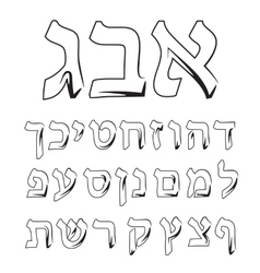 Font Hebrew Alphabet Jewish graphic vector image