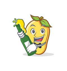 Mango character cartoon mascot with beer vector