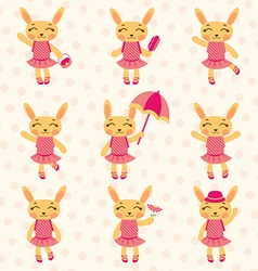 Rabbit girls set vector image