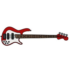Red electric bass guitar vector image vector image