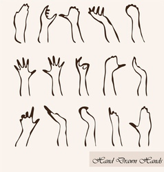 set of 15 hand silhouettes vector image