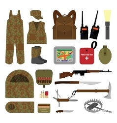 Set of elements for hunting in flat style vector image
