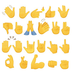 Set of hands icons and symbols emoji hand icons vector
