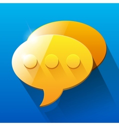 Shiny orange and yellow chat bubble symbols on vector image
