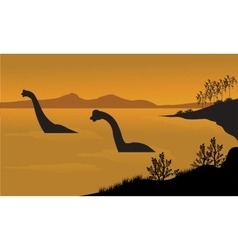 Silhouette of brachiosaurus in the water vector image vector image