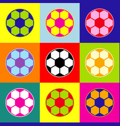 Soccer ball sign pop-art style colorful vector