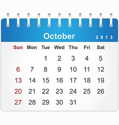 Stylish calendar page for October 2013 vector image vector image