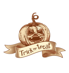 Trick or treat retro pumpkin sketch vector