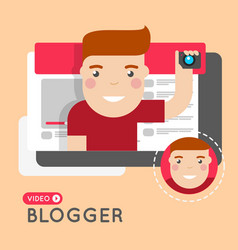video blogger flat style concept vector image