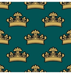 Vintage golden royal crowns seamless pattern vector