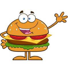 Waving hamburger cartoon vector