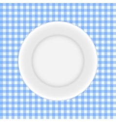 White Plate on a Checkered Tablecloth vector image