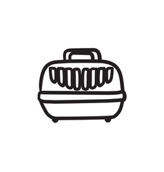 Pet carrier box sketch icon vector
