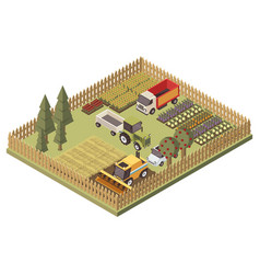agricultural vehicles isometric design vector image