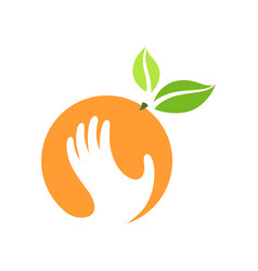 Orange and hand logo label emblem design vector